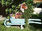 Brouette/brouette holzschubkarre-garten deko 110 cm bac à fleurs, pot hSC 110-bleu gr