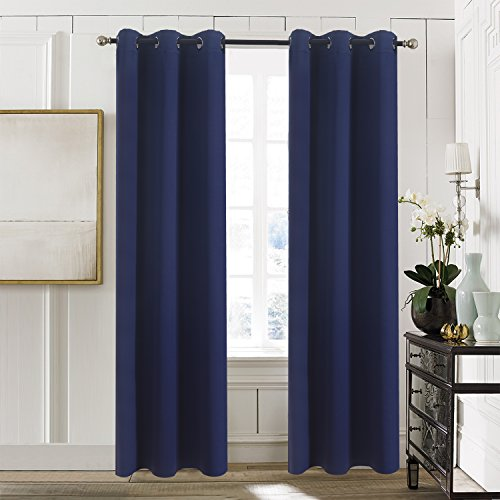 Aquazolax Thermal Insulated Window Treatment Eyelets Top Blackout Panel Curtains for Kid's Bedroom, 1 Pair, 42 x 63-Inch, Navy Blue (Thermal Striped Pair Of Curtains compare prices)