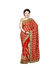Fancy Exquisite Red Colored Embroidered Faux Georgette Saree By Triveni