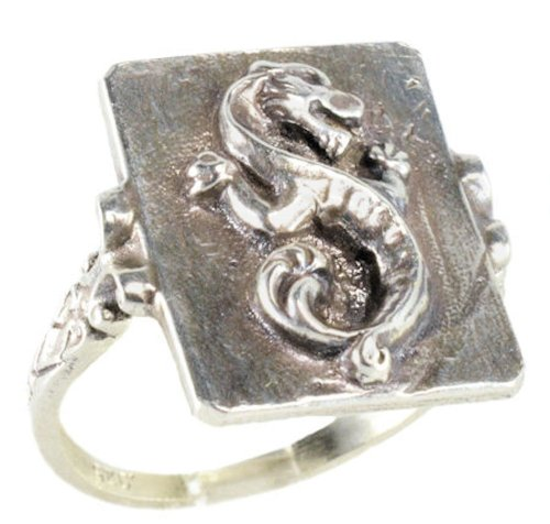 Victorian Style Unisex Sterling Silver Large Wingless Dragon Whimsy Ring (sz 6.5)