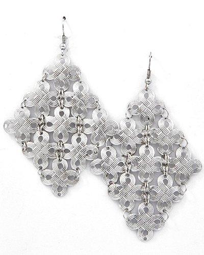 Silvertone Clover Theme Dangle Earrings Fashion Jewelry