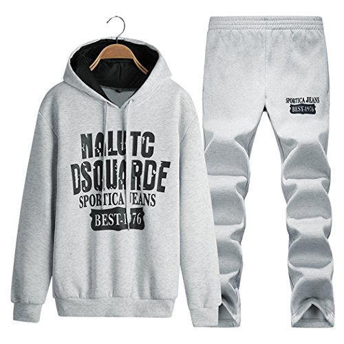 Real Spark(TM) Casual Hoodies Pullover Jogger Sports Suit Set Men Grey S
