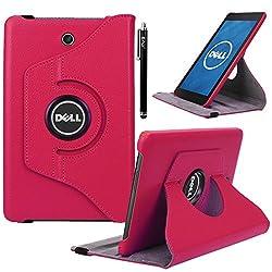 Dell Venue 8 Case, E LV Dell Venue 8 Case Cover 360 rotating Lightweight case for Venue 8 Tablet (Android Tablet) (will only fit Dell Venue 8 tablet) - HOT PINK