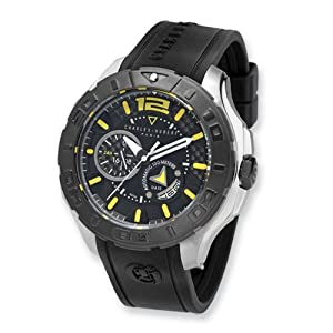 Blk/yellow Dial Stainless Steel Automatic Watch by Charles Hubert Paris Watches, Best Quality Free Gift Box Satisfaction Guaranteed