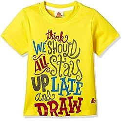 UFO Boys' T-Shirt (AW-16-KF-BKT-213_Yellow_6 - 7 years)