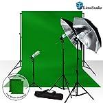 LimoStudio Photography Studio Chromakey Green Screen Background Kit – 1000 Watt Photo Video Light Lighting Kit – Photo Umbrella Black / Silver Reflector Light, AGG116
