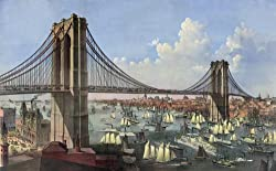 East River Traffic Below the New Brooklyn Bridge - Currier & Ives Lithograph, 1874 - 16x20-inch - Fine-Art-Quality Photographic Print of an Image from the Library of Congress Collection