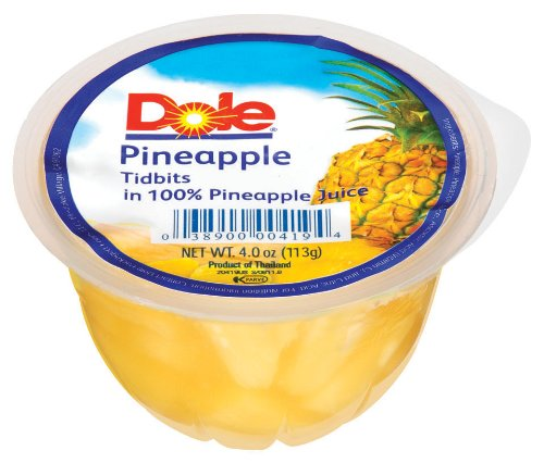 Dole Pineapple Tidbits in Juice 4 Ounce Packages Pack of 24