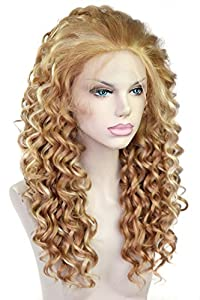 Cbwigs Beyonce Blond Color Curly Hairstyle Kanekalon Fiber Hair Synthetic Lace Front Wigs Soft and Smooth