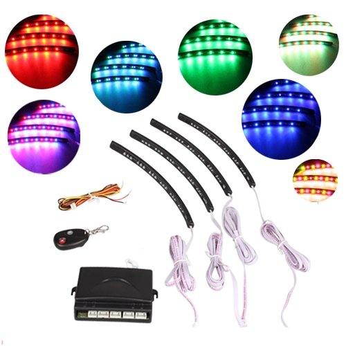 4 Car 7 Color LED Interior Foot Well Neon Lights Tube