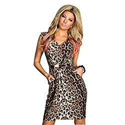 JAUNE Animal Print Pegged Dress (Medium, Animal Print)