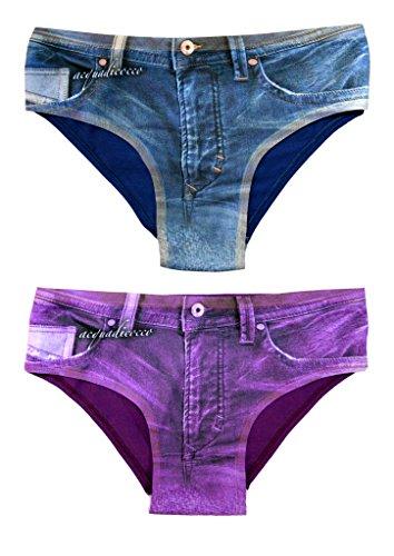 ea385b046a8 Acquadicocco Women s Bikini Panties Underwear Denim Jeans