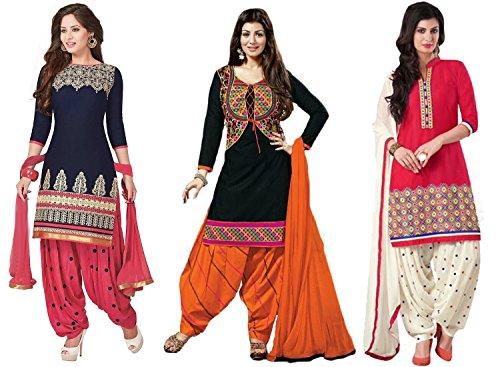 DivyaEmporio Women's Faux Crepe & Cotton Salwar Suit Dress Material Combo of 3 Suits (Crepe Material compare prices)
