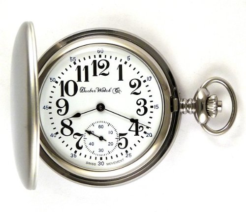 Dueber Swiss Mechanical Pocket Watch, Satin Chrome Hunting Case, Assembled in USA!