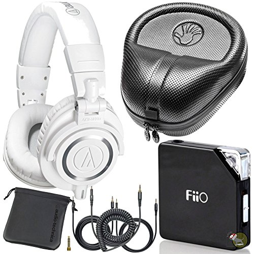 Audio Technica M50X White DJ Studio Headphones w/ FiiO E06 Amp & Hard Case