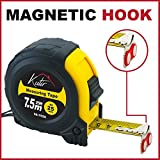 Tape Measure by Kutir - 25 Foot Retractable Heavy Duty Measuring Tape Ruler with Magnetic Hook, Shock-Absorbent Rubber Case & Measurement Indicators - Durable Measuring Tape for Construction & Home
