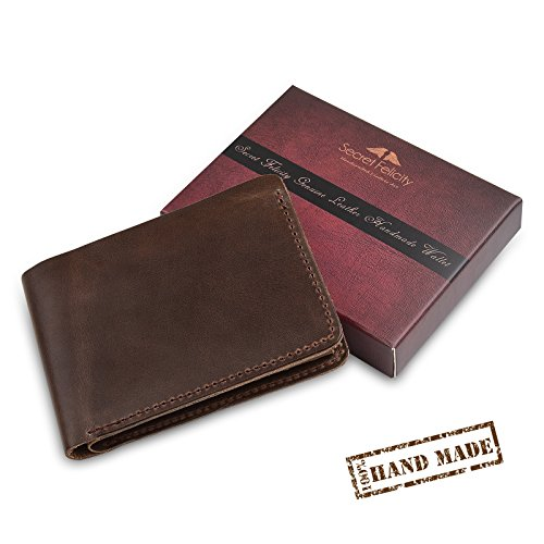 02. Secret Felicity Men's 100% Genuine Leather Bifold Wallet,Entirely Handmade (SF1001)