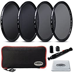 Rangers Focus Series 72mm Full ND Filters Includes Full ND2, ND4, ND8, ND16 Filters + Carrying Case + Lens Cleaning Cloth + Lens Cleaning Pen