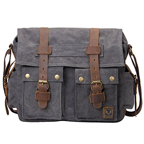 Peacechaos Messenger Bag Leather Canvas Shoulder Bookbag Laptop Bag + Dslr Slr Camera Canvas Shoulder Bag