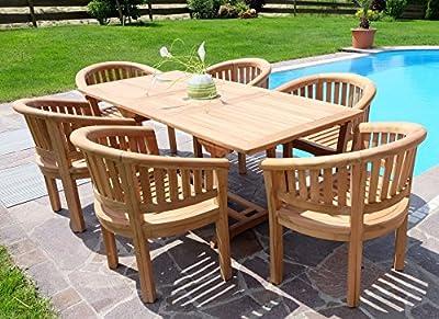 Rustikale Super Edle TEAK Gartengarnitur Gartenset Gartenmöbel Ausziehtisch 150-200cm + 6 Sessel COCO Holz geölt von AS-S von AS-S - Gartenmöbel von Du und Dein Garten