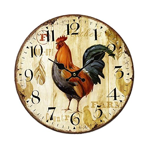 Rooster Wooden Wall Clock