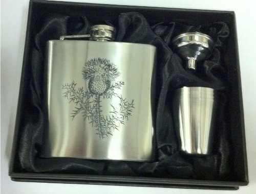 Scottish Thistle 6oZ Hip Flask can be Personalised Engraved Free hf56oz4cupbox