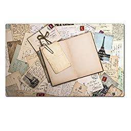 MSD Natural Rubber Large Table Mat 28.4 x 17.7 x 0.2 inches old letters french postcards and empty open book nostalgic vintage background IMAGE 29758750