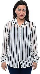 CHLOE Women's Regular Fit Shirt (CH-AM-11357P12-S, White, S)
