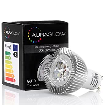 auraglow 6w led gu10 light bulb daylight full spectrum. Black Bedroom Furniture Sets. Home Design Ideas
