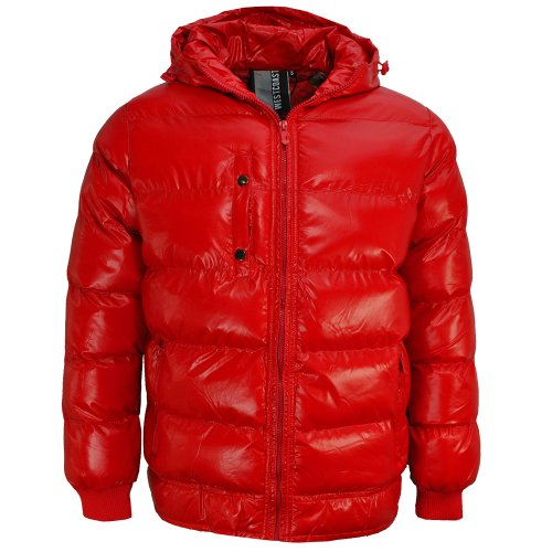 Soulstar Wet Look Quilted Jacket Shinny Bubble Hooded Coat Mens Red Size M