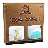 "Adore Amore | 100% Organic Cotton Muslin Swaddle Blankets | Baby Shower Gift Set Boy Girl | Crib Stroller Receiving | Soft Natural Newborn Unisex | X Large Wrap 47"" x 47"" | 2 Pack Elephant & Giraffe"