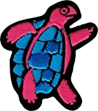 Hot Pink Turtle with Blue Belly/Shell - Embroidered Iron On or Sew On Patch