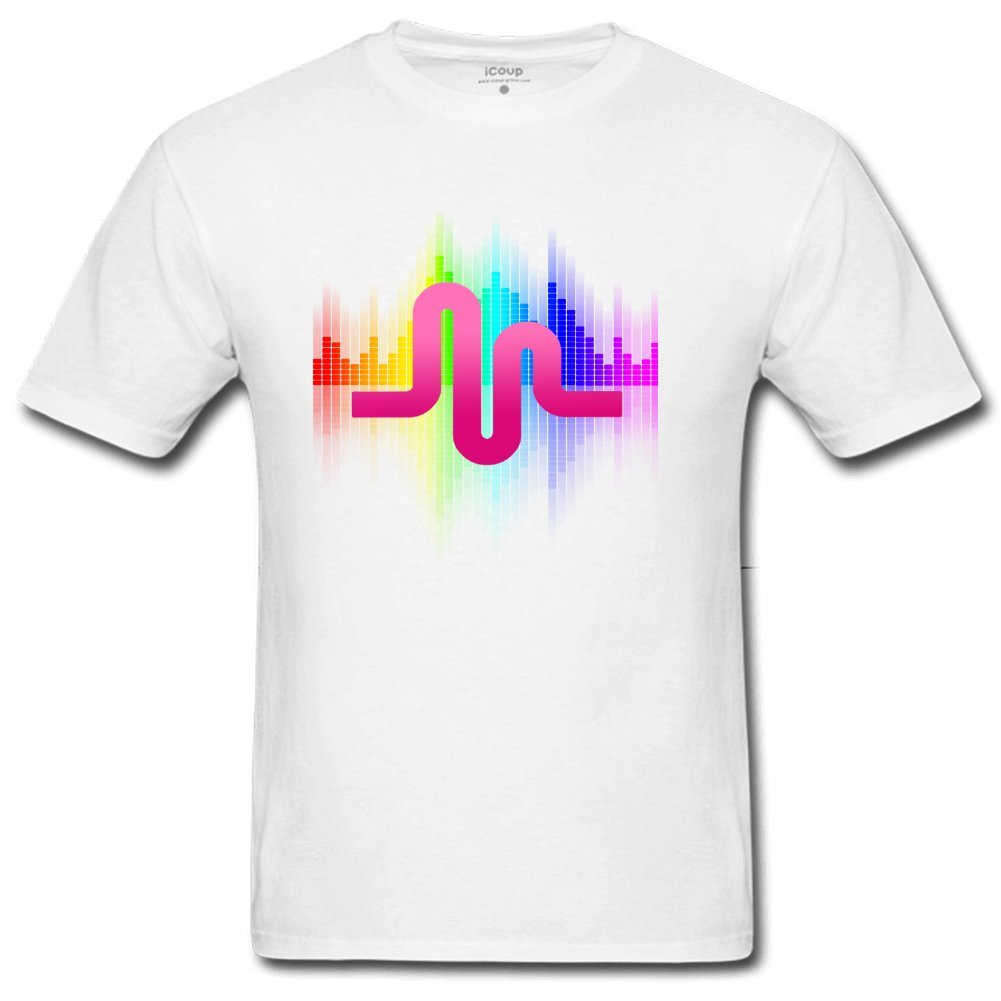 lcoup men 39 s sound wave o neck t shirts xl white. Black Bedroom Furniture Sets. Home Design Ideas