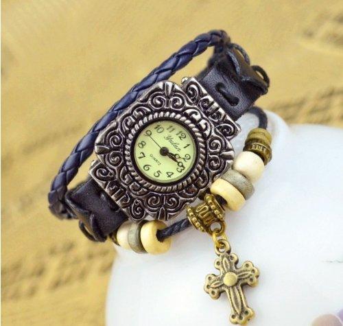 Kano Bak(Tm) Retro Bronze Women Ladies Weave Wrap Lucky Cross Leather Bracelet Bangle Quartz Gift Watch Black