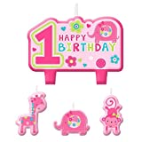 Amscan One Wild Girl 1st Birthday Candle Set, Small, Pink