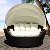 BELIANI 'SYLT' WICKER DAYBED SUN LOUNGER GARDEN BED RATTAN BEACH BASKET
