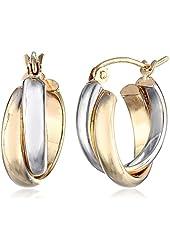14k Gold Two-Tone 5.5mm Twisted Hoop Earrings