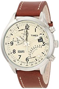 Timex Men's T2N932DH Stainless Steel Watch with Leather Band