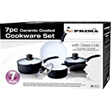 PRIMA 24 cm Ceramic Coated Cookware Set, Set of 7, Black/ Beige