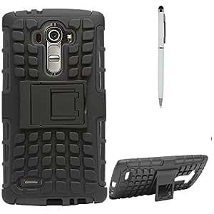 DMG Dual Hybrid Hard Grip Rugged Kickstand Armor Case for LG G4 H815 (Black) + Pen Stylus