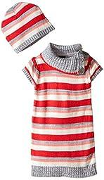 Girls Rule Little Girls\' Light Striped Sweater Dress with Hat, Heather Grey, 2T