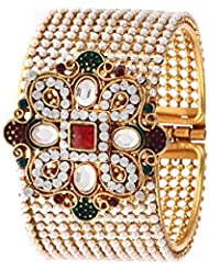 Zeneme Designer Pearl Antique Gold Plated Bangles / Kada Jewellery For Women / Girls