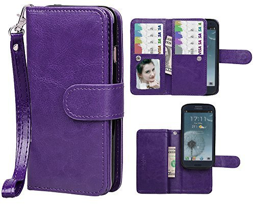 Samsung S3 Case, xhorizon TM FLK Premium Leather Folio Wallet Magnetic Wristlet Purse Soft Flip Multiple Card Slots Case for Samsung Galaxy S3 i9300 (Purple) (Wristlet For Samsung Galaxy S3 compare prices)