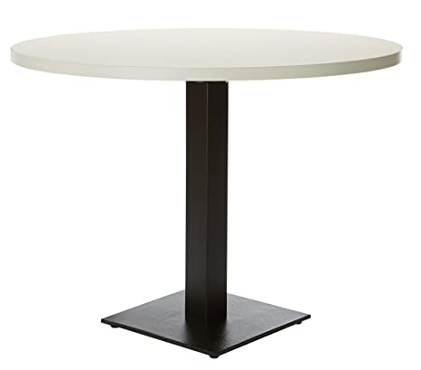 Office Hippo Forza Round Dining Table - White Top/Black Round