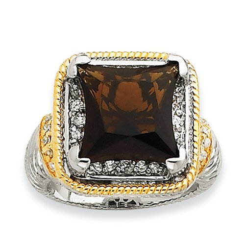 Sterling Silver & Gold-plated Fancy Square Smokey CZ Ring