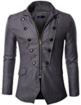 Doublju Mens Blazer Jacket with Zipper GRAY (US-XL)