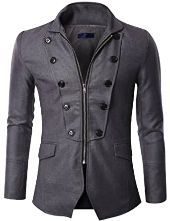 Doublju Mens Zipper Jacket Blazer