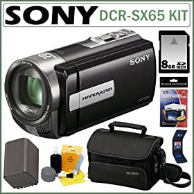 Sony DCRSX65B DCR-SX65/B DCR-SX65 DCRSX65 4GB Handycam Camcorder with 70x Zoom in Black + 8GB Accessory Kit