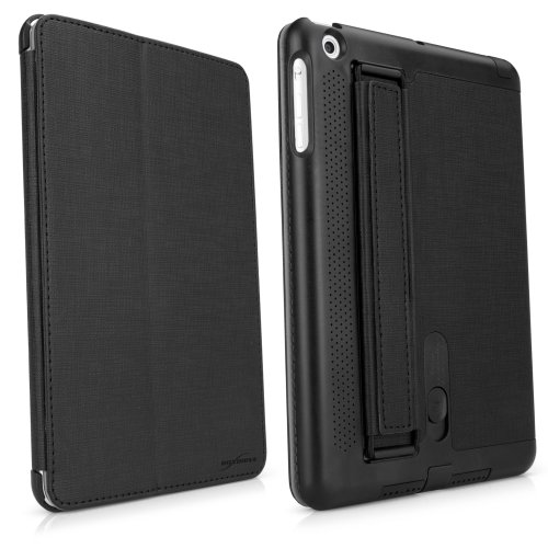 Boxwave Soundboost Apple Ipad Mini Case - Ipad Mini Slim Smart Case With Built-In Sound Reflector To Boost Volume, Magnet Activated Sleep/Wake Smart Cover And Fold-Away Stand With Secure Hand Strap (Nero Black)