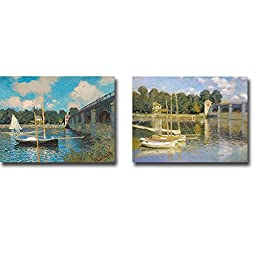 Views of The Bridge at Argenteuil by Claude Monet 2-pc Premium Gallery-Wrapped Canvas Giclee Art Set (Ready-to-Hang)